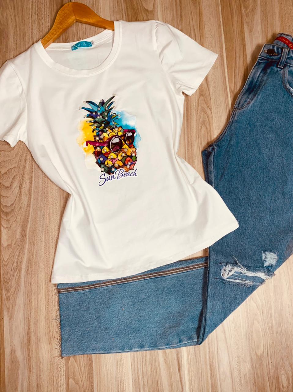 T-shirt Top Abacaxi Sun Beach White