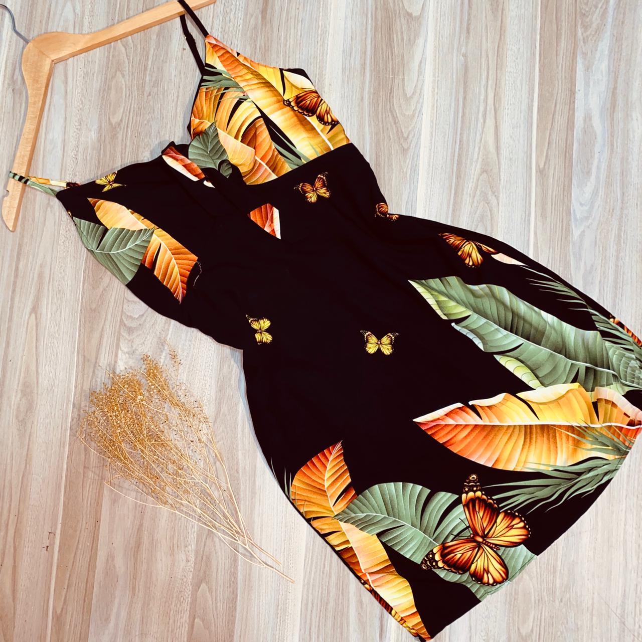 Vestido Alcinha com Laço na Frente Deborah Folhagem Preto