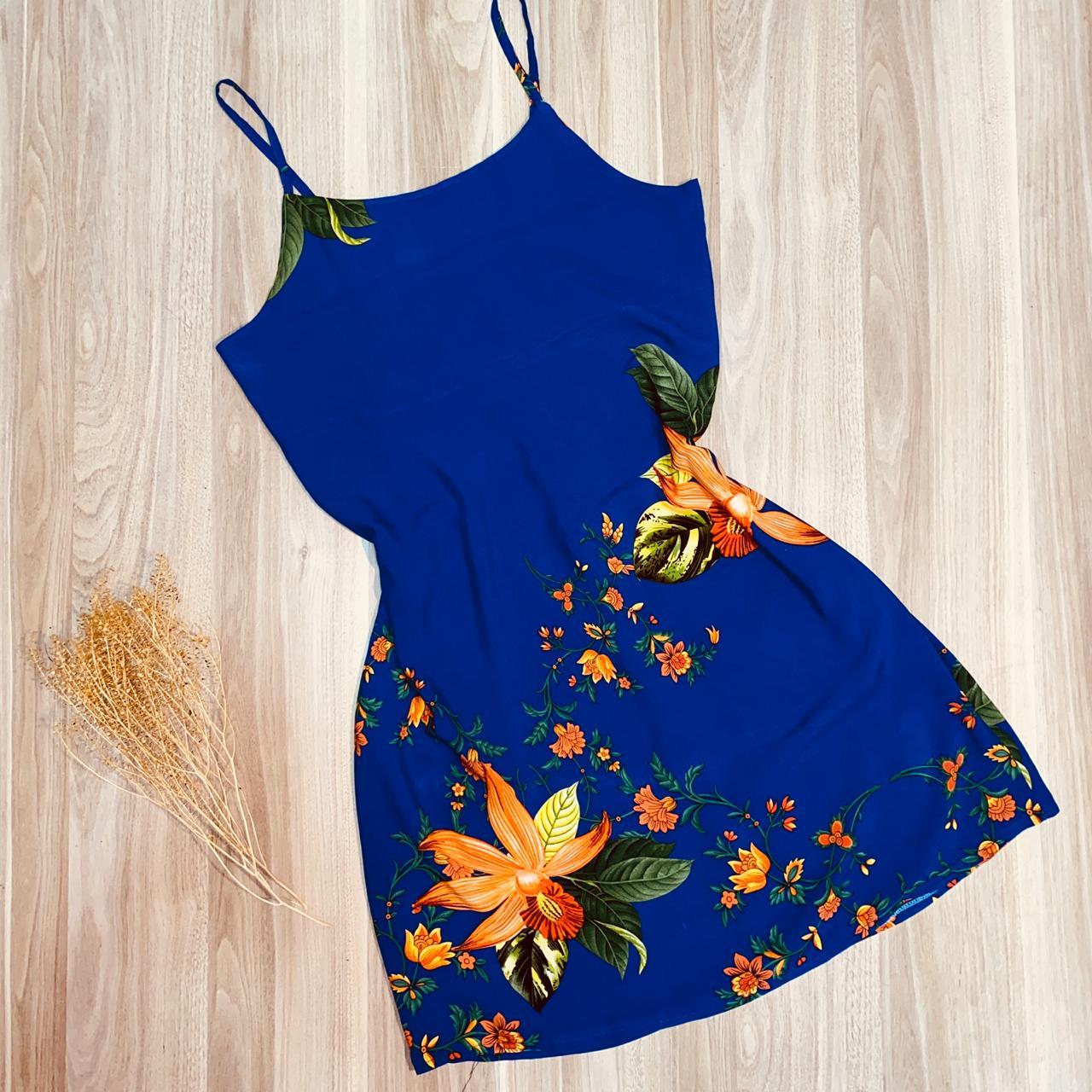 Vestido Alcinha Curto Rebeca Jardim Azul