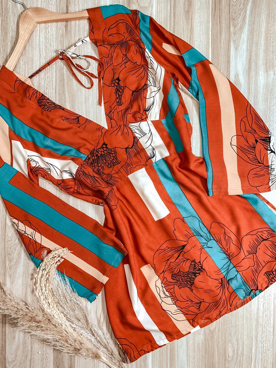 Vestido Curto Manga Longa Decote V Floral Joyce Laranja