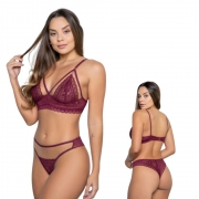 Lingerie Sexy de Renda e Tule sem Bojo