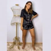 Pijama Americano Curto em Cetim de Seda