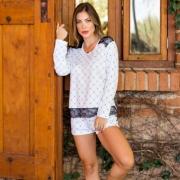 Pijama de Liganete Shorts e Camisa Manga Longa Xadrez