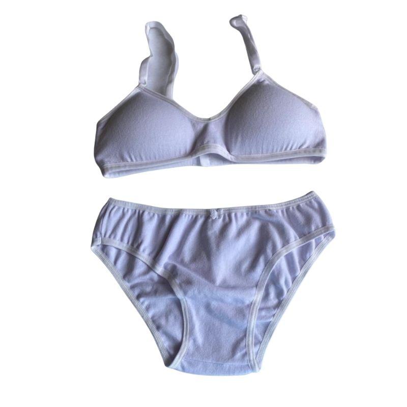 Conjunto lingerie Infantil de Algodão  Sutiã com Bojo Removível