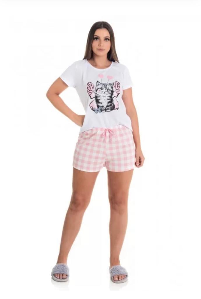 Pijama Feminino Manga Curta de Algodão