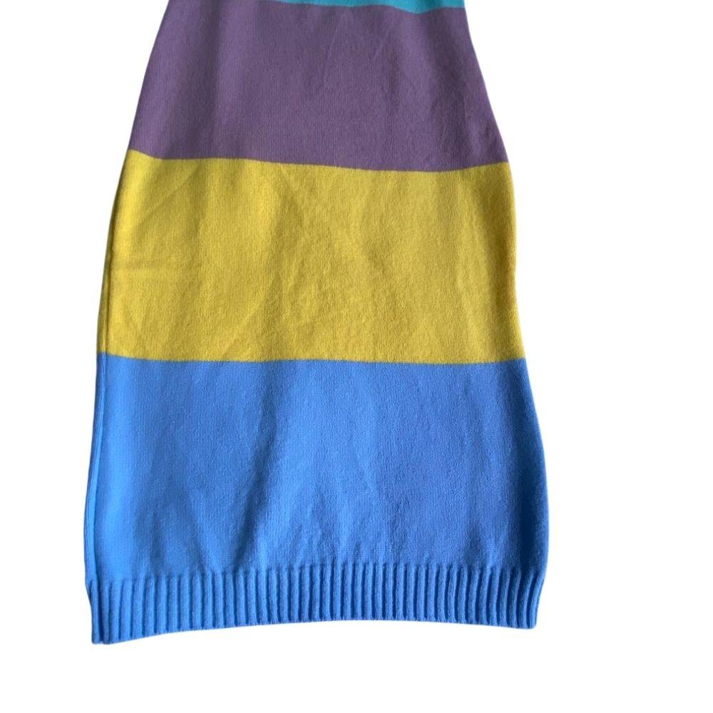Vestido de Tricot Gola V Colorido