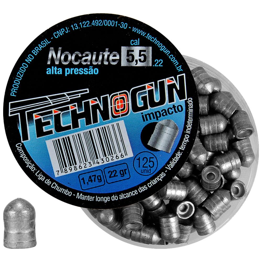 Chumbinho Nocaute Alta Pressão Impacto 5.5mm 125un. - TECHNOGUN