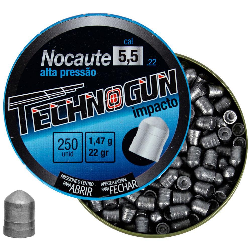 Chumbinho Nocaute Alta Pressão Impacto 5.5mm 250un. - TECHNOGUN