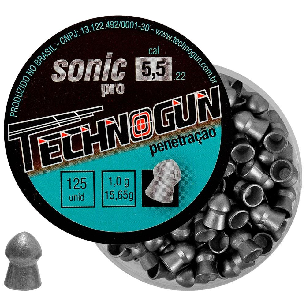 Chumbinho Sonic Pro Penetração 5.5mm 125un. - TECHNOGUN