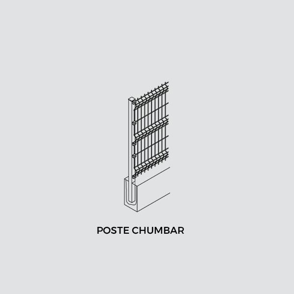 Kit Poste de Gradil - Chumbar (Poste + Fixador com Parafuso)