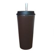 Kit Cuia Copo de Tereré de Alumínio revestido de Plástico Marrom - 350 ML