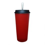 Kit Cuia Copo de Tereré de Alumínio revestido de Plástico Vermelho - 350 ML