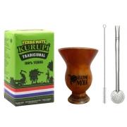 Kit Erva Mate Tradicional Kurupí + Cuia Porongo + Bomba Inox