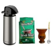 Kit Garrafa Térmica Inox 1,8 L + Erva 1 Kg + Porongo + Bomba
