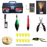 Kit Pesca Intermediário 10 Itens - Boias, Anzol E Outros