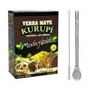 Kit Tereré - Erva Kurupí 500gr + Bomba Aço Inox Com Rosca