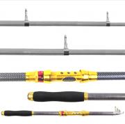 Vara de Pesca Telescópica para Molinete 20-40lbs 4,5m Preto e Dourado 50% Carbono - CMIK