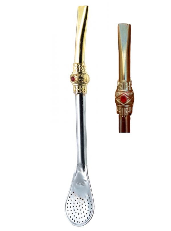 Bomba para Tereré e Chimarrão de Ferro Dourada com Prata com Anel - 23cm