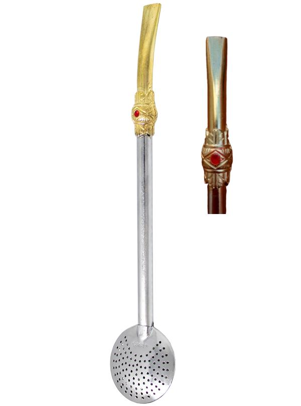 Bomba para Tereré e Chimarrão Redonda de Ferro Dourada com Prata com Anel - 20cm