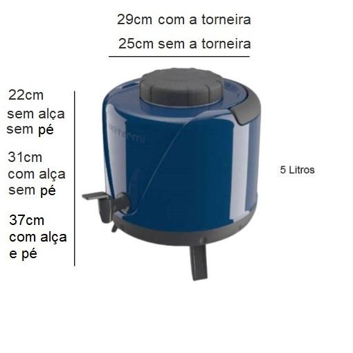 Botijão Térmico Arezzo 5 Litros com Tripé Azul - Unitermi
