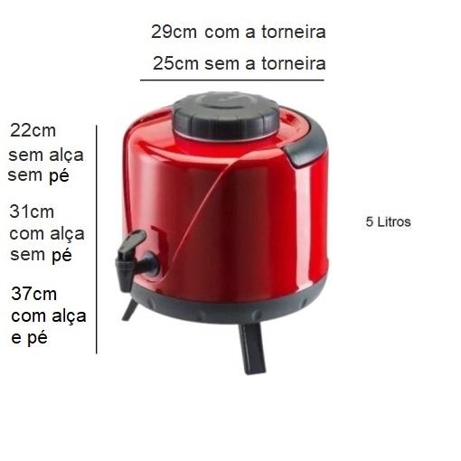 Botijão Térmico Arezzo 5 Litros com Tripé Vermelho - Unitermi