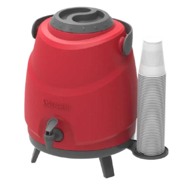 Botijão Térmico Aspen 9 Litros com Tripé e Porta Copo Vermelho - Soprano