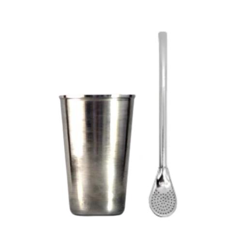 Kit Cuia de Inox 220 ML e Bomba Tradicional de Ferro
