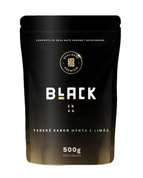 Erva para Tereré Gourmet Premium sabor Menta y Limão 500 gramas - Black Erva