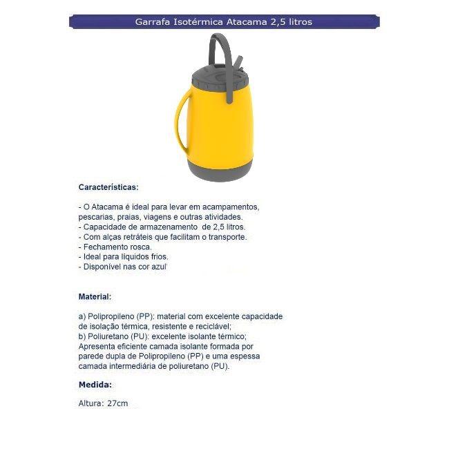 Garrafa Isotérmica Atacama 2,5 Litros Amarelo - Soprano