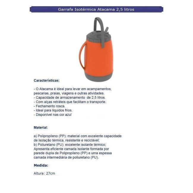 Garrafa Isotérmica Atacama 2,5 Litros Laranja - Soprano