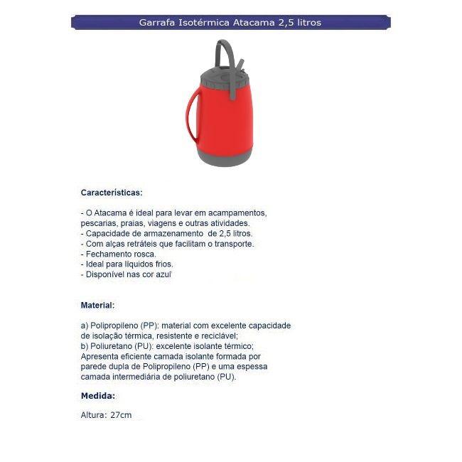 Garrafa Isotérmica Atacama 2,5 Litros Vermelho - Soprano