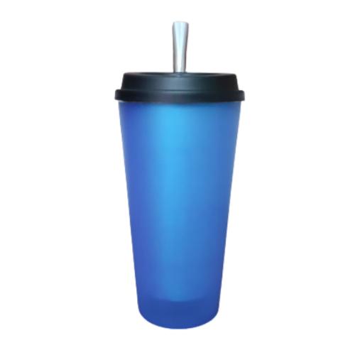 Kit Cuia Copo de Tereré de Alumínio revestido de Plástico Azul - 350 ML