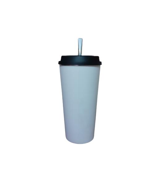 Kit Cuia Copo de Tereré de Alumínio revestido de Plástico Branco - 350 ML
