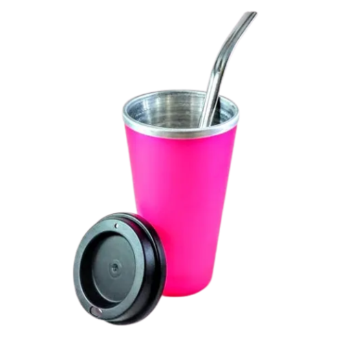 Kit Cuia Copo de Tereré de Alumínio revestido de Plástico Pink - 350 ML
