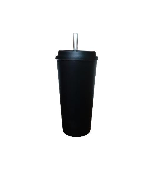 Kit Cuia Copo de Tereré de Alumínio revestido de Plástico Preto - 350 ML