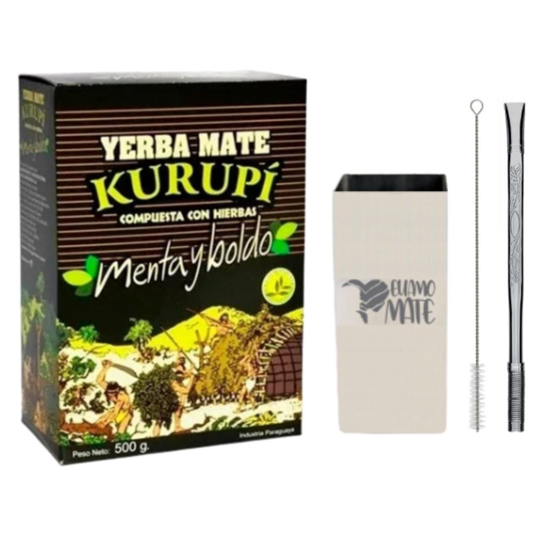 Kit - Erva Kurupí + Cuia Quadrada 200ml Inox + Bomba Inox