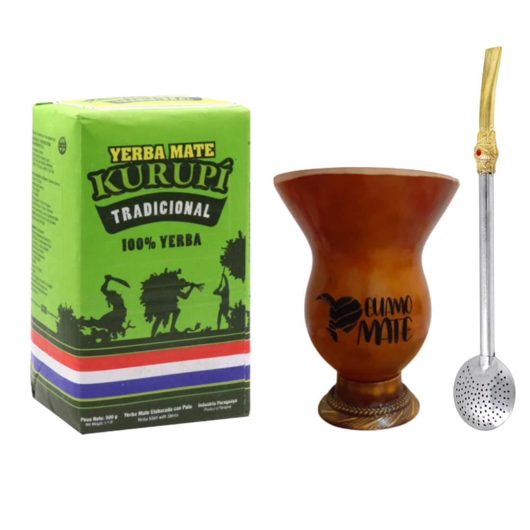 Kit Erva Mate Tradicional Kurupí + Cuia Porongo + Bomba
