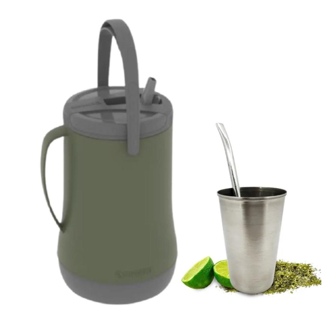 Kit Garrafa Isotérmica 2,5 L + Cuia Inox E Bomba Tradicional