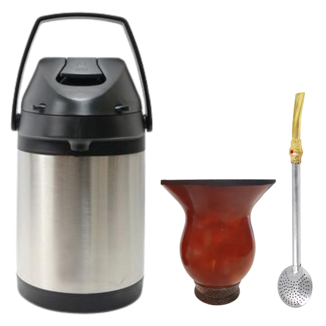 Kit Garrafa Térmica Inox 2,5 Lts + Cuia Porongo + Bomba