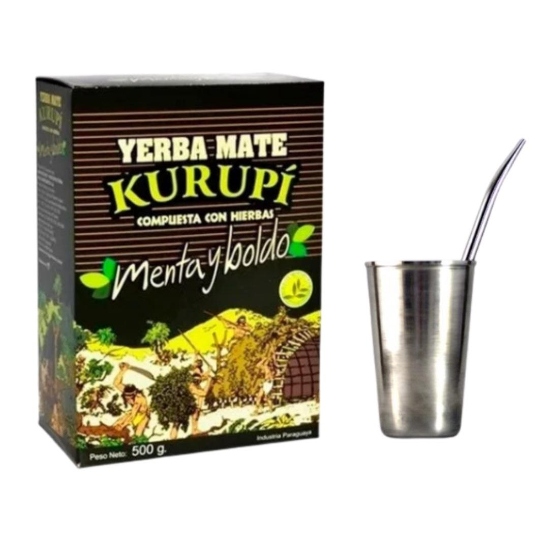 Kit Tereré - Erva Kurupí + Copo Inox 200 Ml + Bomba De Ferro