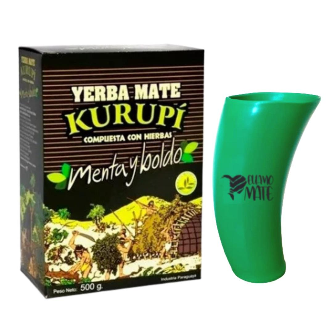 Kit Tereré - Erva Kurupí  + Cuia Guampa De Plástico 300 Ml