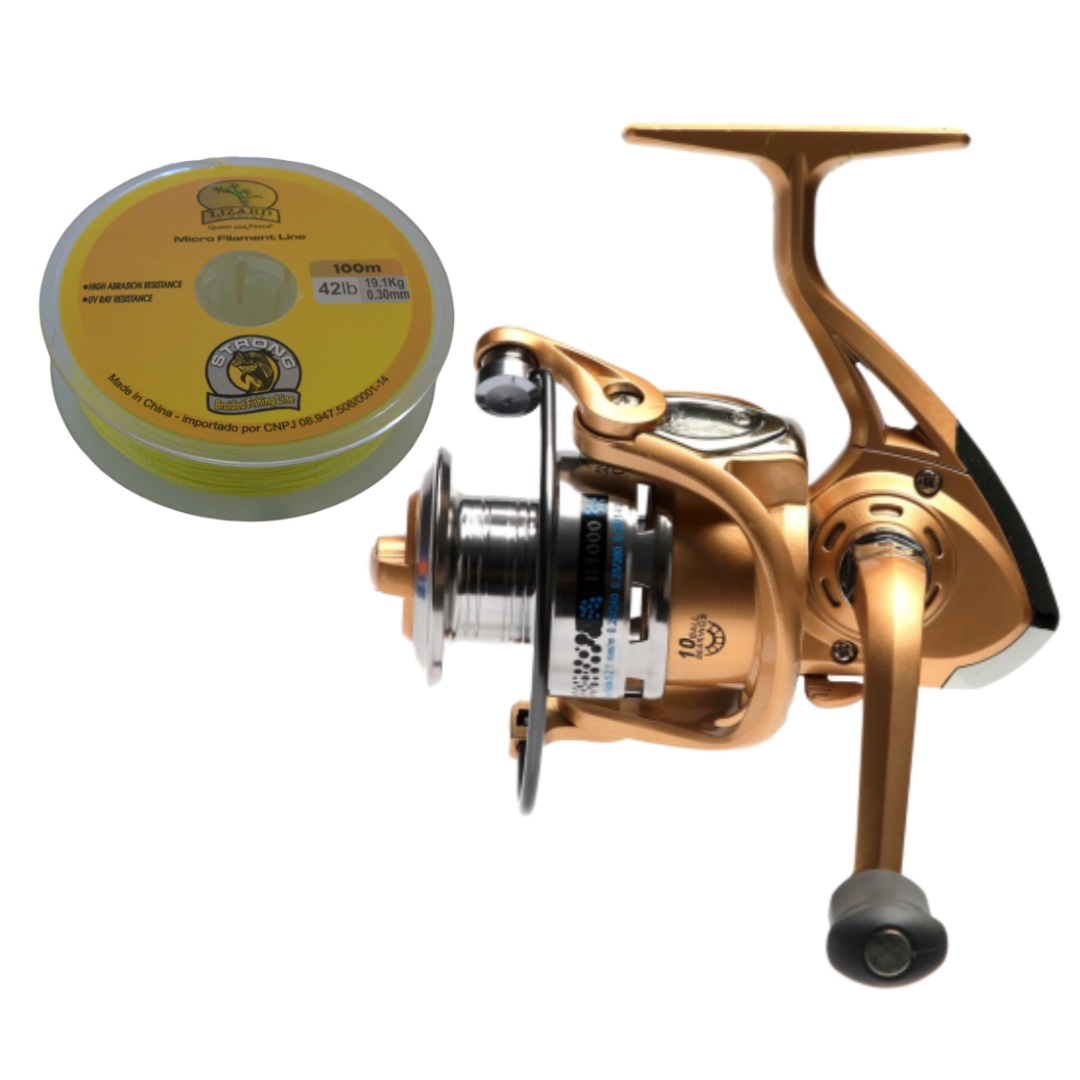Molinete Dourado Fb4000 + Linha Multifilamento Strong 0.30