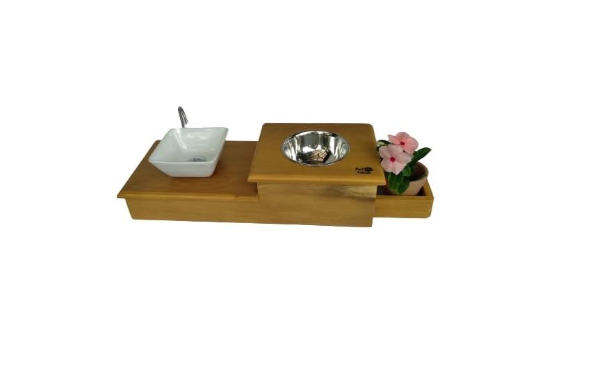 Comedouro com Bebedouro em Cerâmica Esmaltada com Vaso para Grama C1v Linha Grápia Petneon