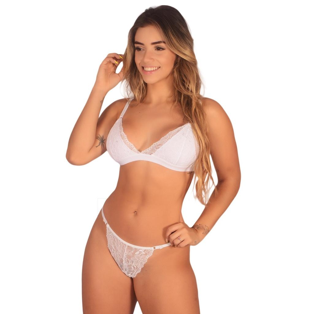 Conjunto Lingerie Sensual Renda Calcinha e Sutiã Sexy