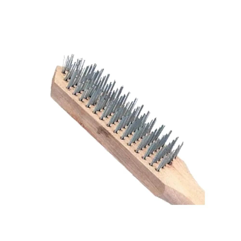 Escova Manual de Aço 3 Fileiras c/ cabo de madeira 748205 SPARTA