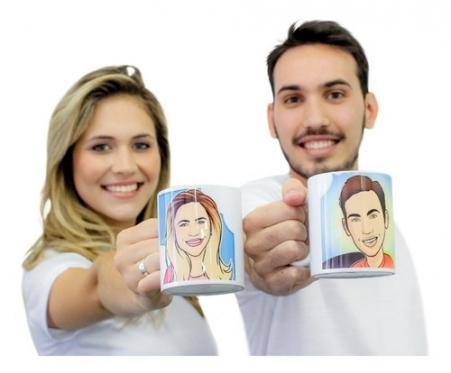 Presente Criativo Caricatura Estampada 2 Canecas Porcelana