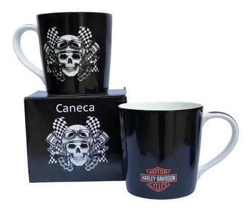 Caneca De Porcelana Harley Davidson Caveira 400ml