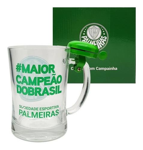Caneca Vidro Chopp Com Campainha Palmeiras 650ml Oficial