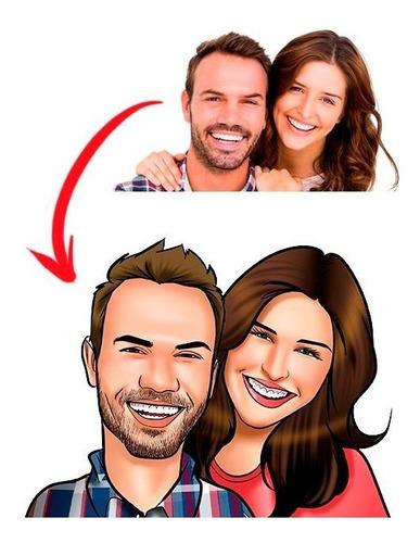 Caricaturas Casal Estampada Em 2 Canecas Porcelana