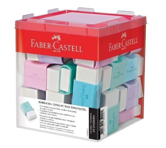 Borracha Branca Tons Pastel FC Max Sortida - Faber Castell (24 Unidades)